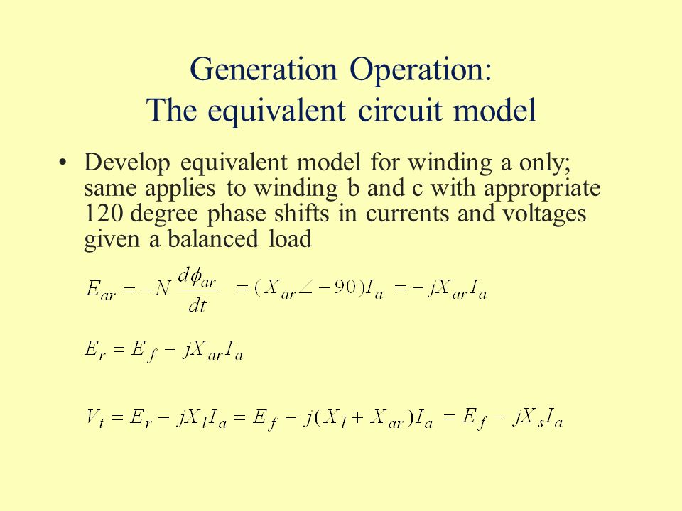Generation Operation: The equivalent circuit model
