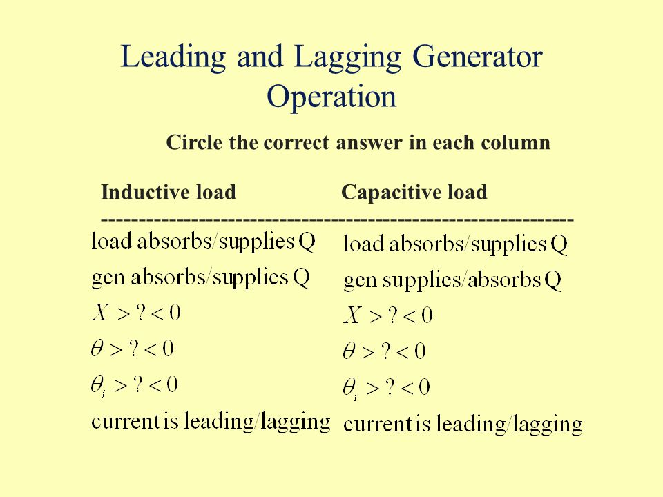 Leading and Lagging Generator Operation
