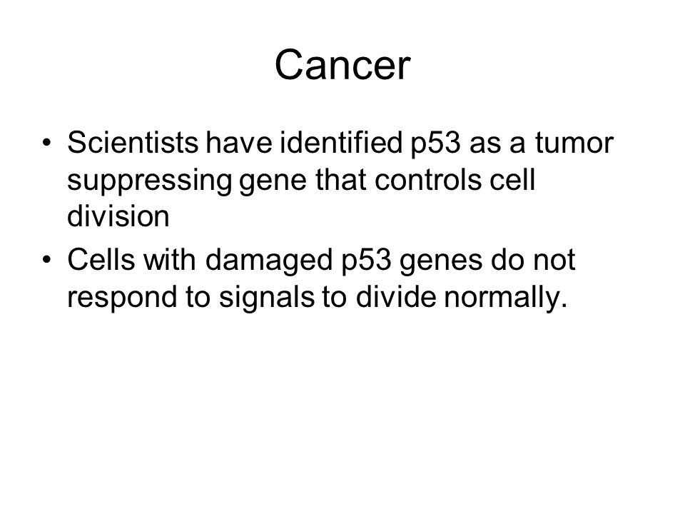 Cancer Scientists have identified p53 as a tumor suppressing gene that controls cell division.