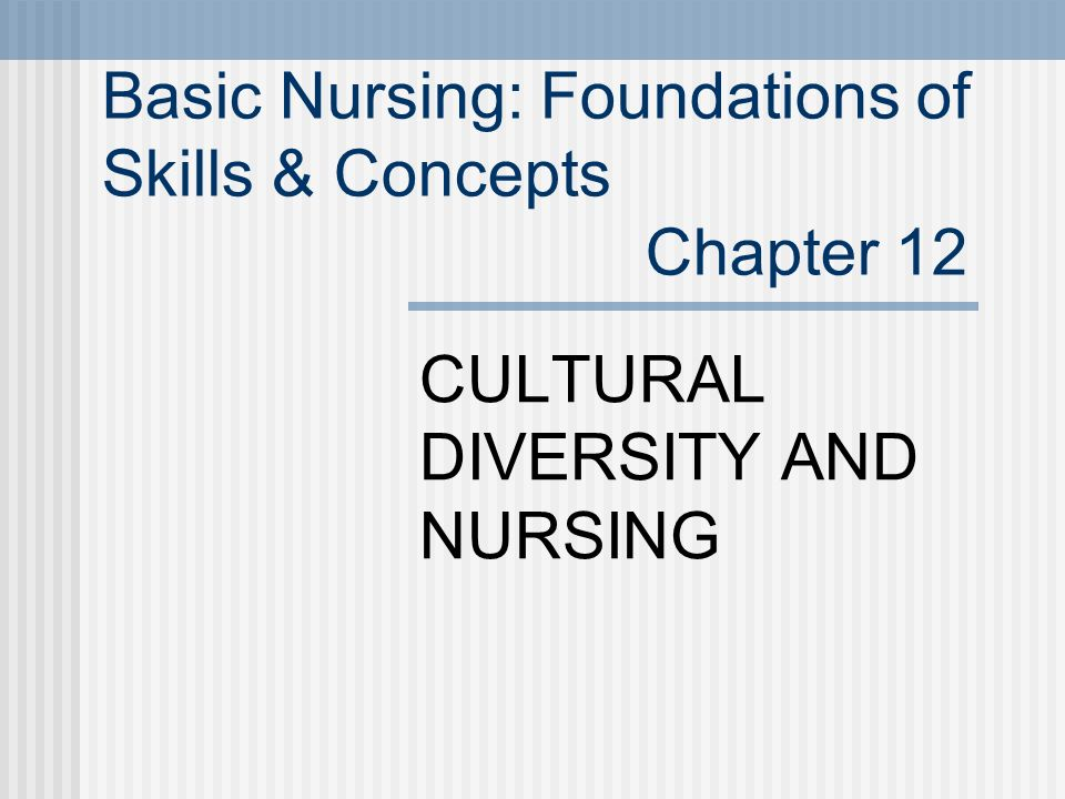 Basic Nursing: Foundations of Skills & Concepts Chapter 12