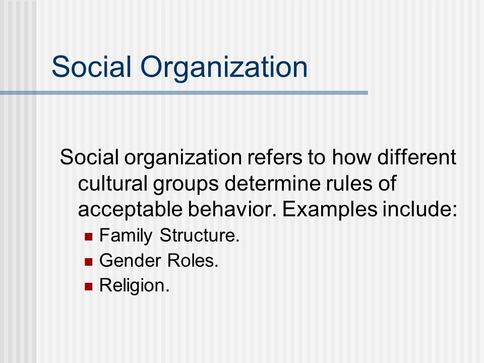 Social Organization Social organization refers to how different cultural groups determine rules of acceptable behavior. Examples include: