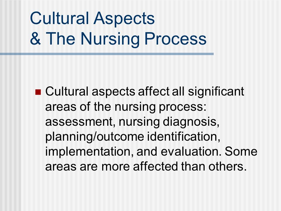Cultural Aspects & The Nursing Process