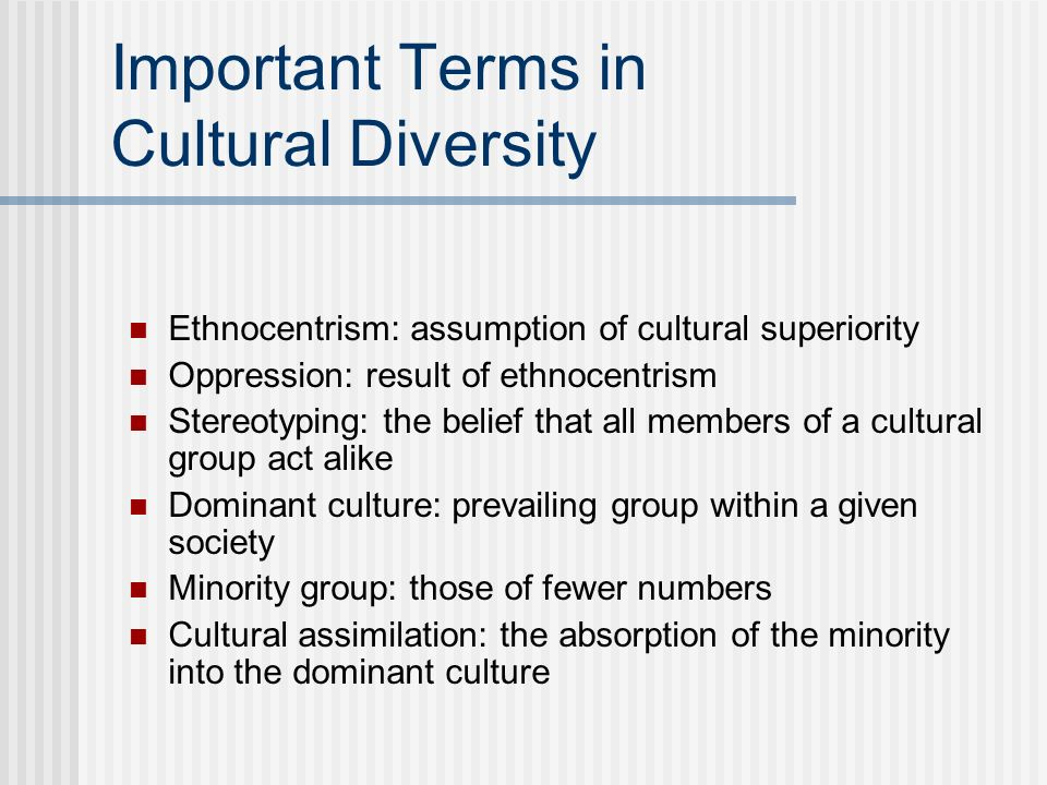 Important Terms in Cultural Diversity