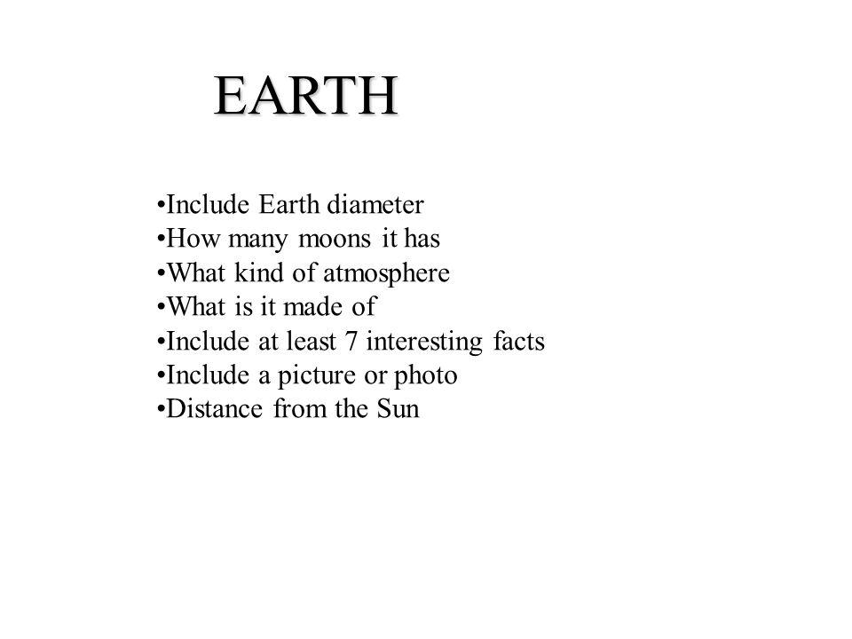 EARTH Include Earth diameter How many moons it has