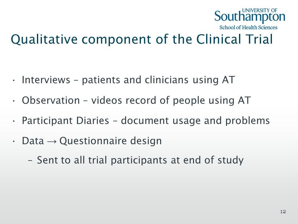 Qualitative component of the Clinical Trial