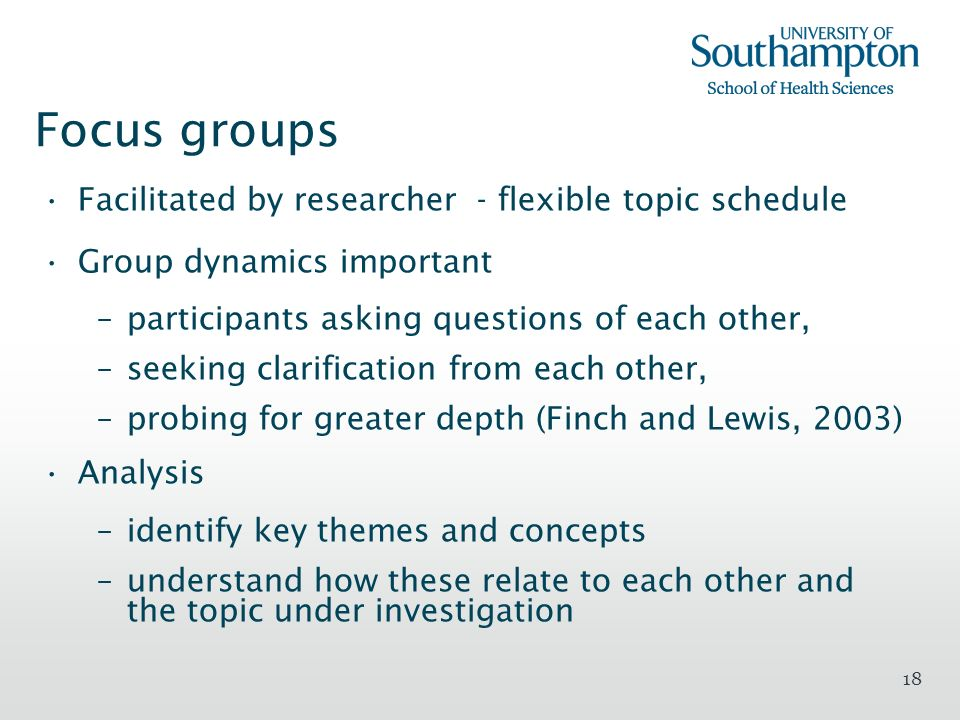 Focus groups Facilitated by researcher - flexible topic schedule