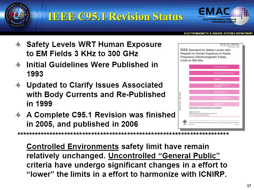 IEEE C95.1 Revision Status Safety Levels WRT Human Exposure to EM Fields 3 KHz to 300 GHz. Initial Guidelines Were Published in