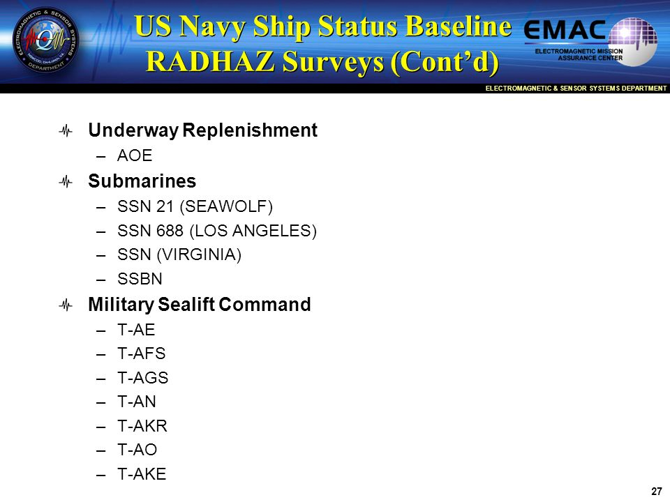 US Navy Ship Status Baseline RADHAZ Surveys (Cont'd)