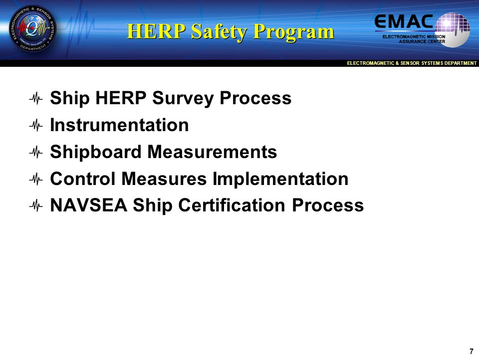 HERP Safety Program Ship HERP Survey Process Instrumentation