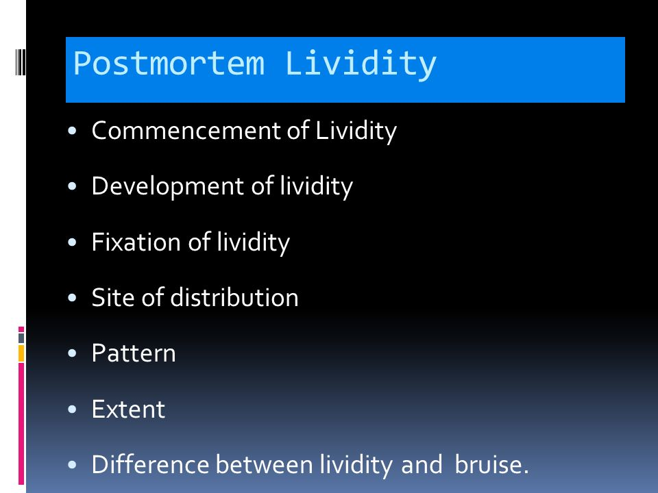 When does post mortem lividity set in