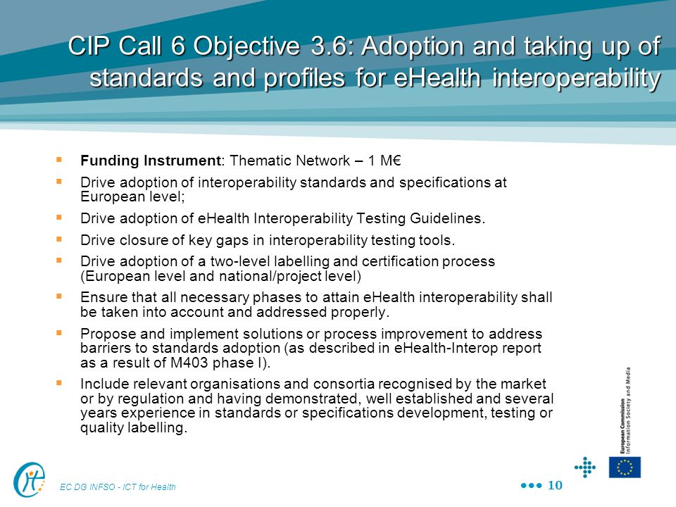 CIP Call 6 Objective 3.6: Adoption and taking up of standards and profiles for eHealth interoperability