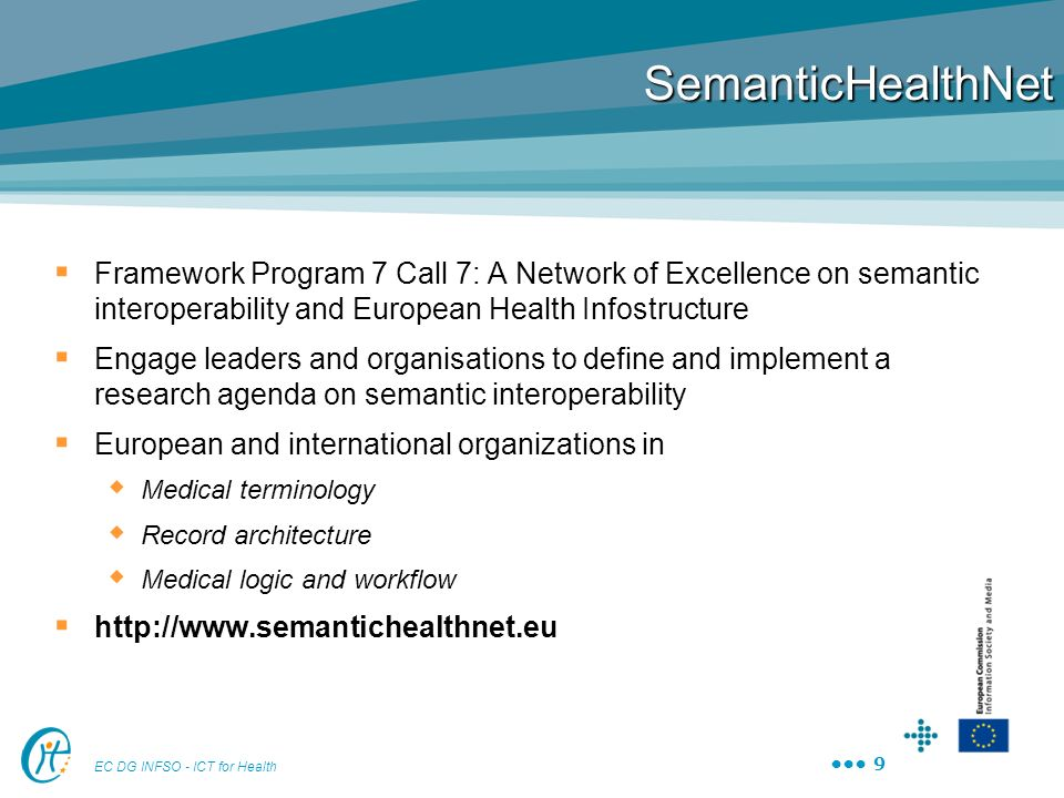 SemanticHealthNet Framework Program 7 Call 7: A Network of Excellence on semantic interoperability and European Health Infostructure.