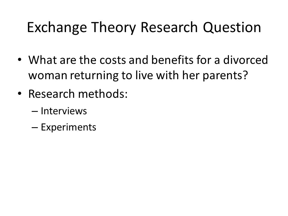 Exchange Theory Research Question