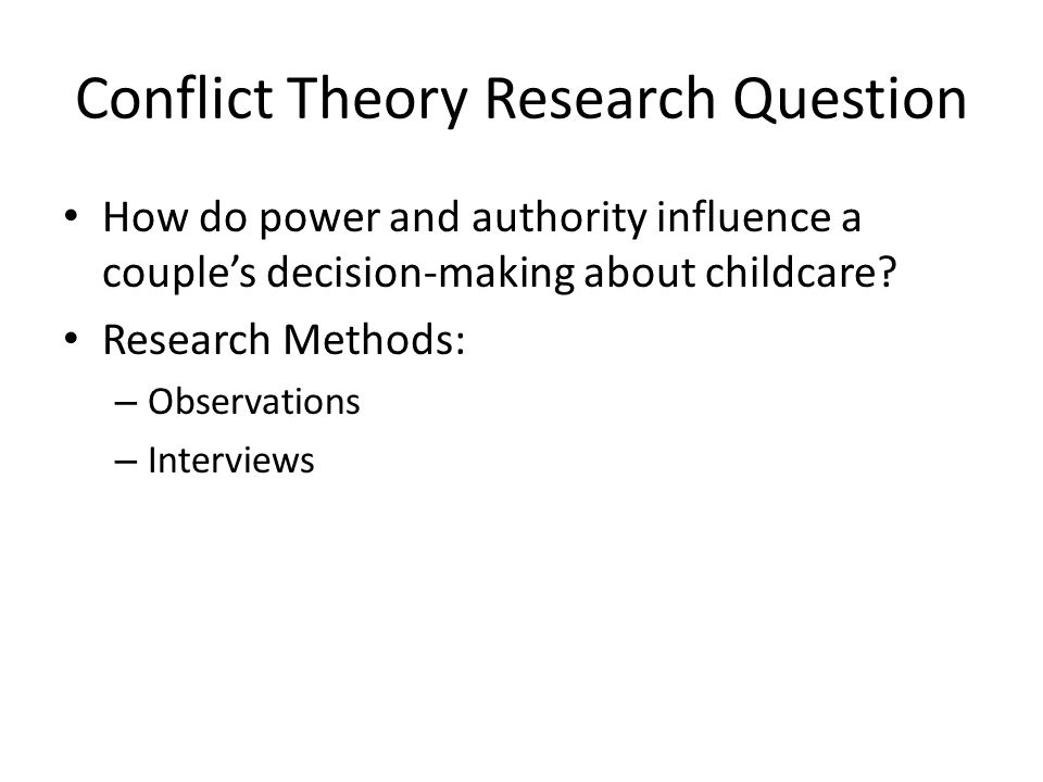 Conflict Theory Research Question