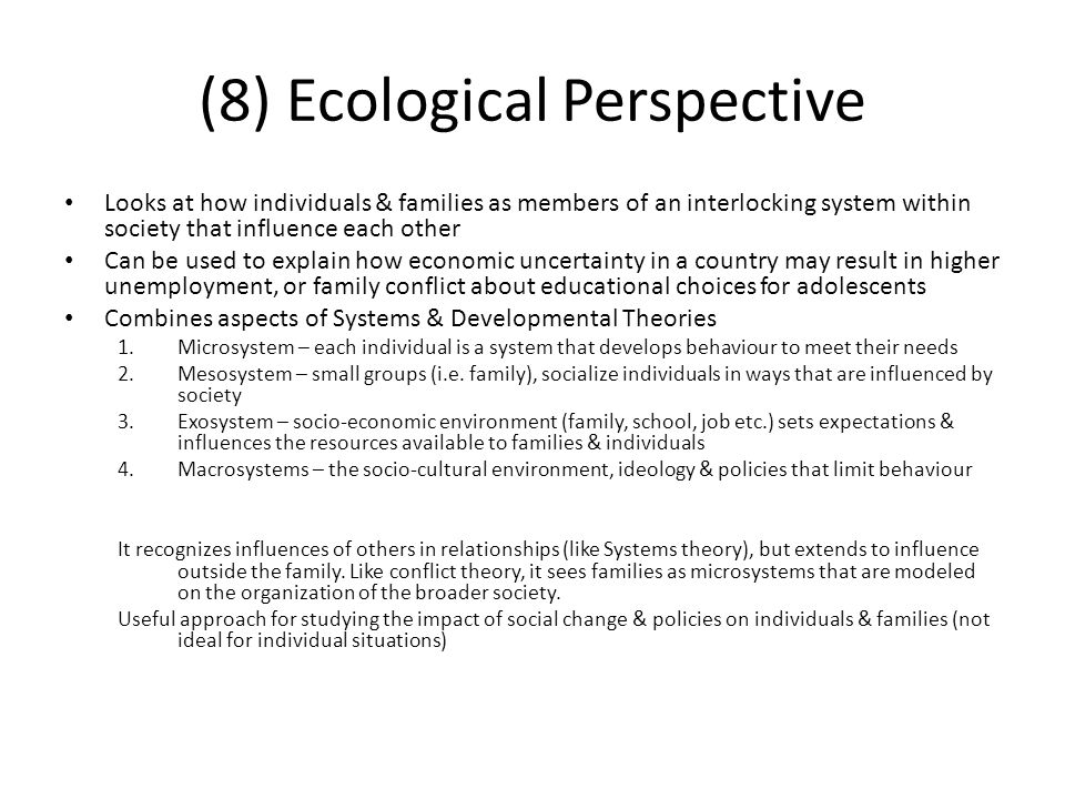 (8) Ecological Perspective
