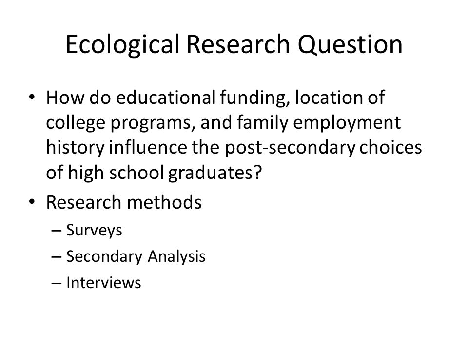 Ecological Research Question