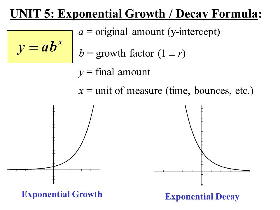 unit 5: exponential growth / decay formula: - ppt download