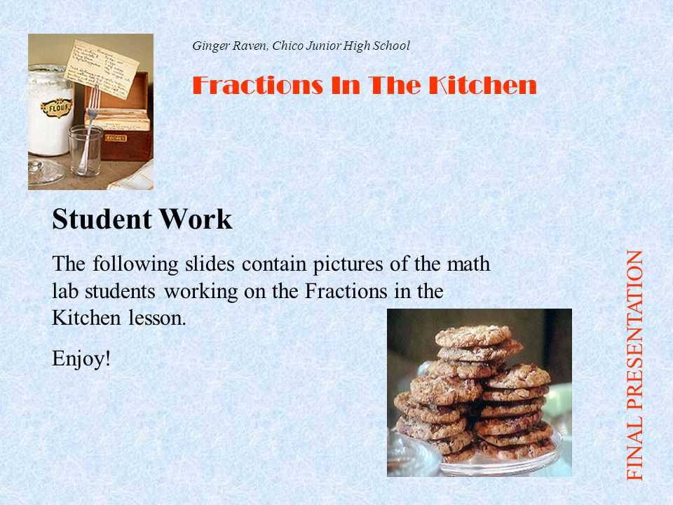 Fractions in the kitchen ginger raven chico jr high school chico student work fractions in the kitchen forumfinder Images