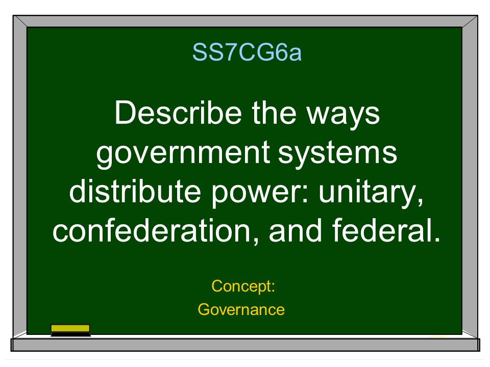 SS7CG6a Describe the ways government systems distribute power: unitary, confederation, and federal.