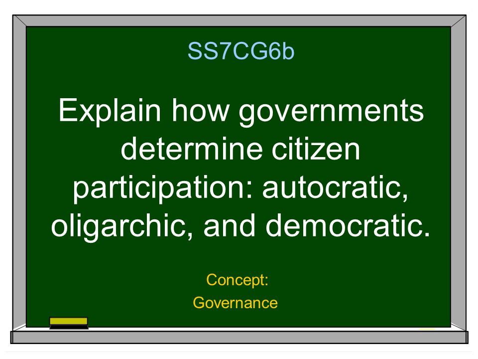 SS7CG6b Explain how governments determine citizen participation: autocratic, oligarchic, and democratic.
