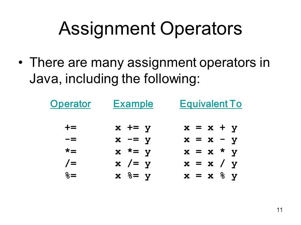 Assignment Operators There are many assignment operators in Java, including the following: Operator.