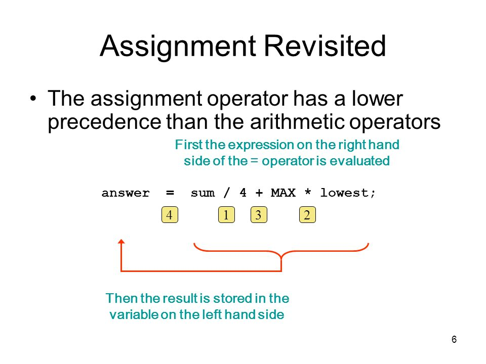 Assignment Revisited The assignment operator has a lower precedence than the arithmetic operators. First the expression on the right hand.