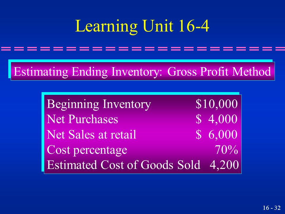Learning Unit 16-4 Estimating Ending Inventory: Gross Profit Method