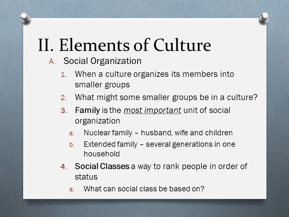 II. Elements of Culture Social Organization