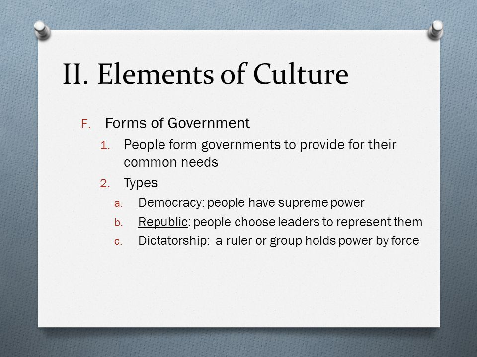 II. Elements of Culture Forms of Government