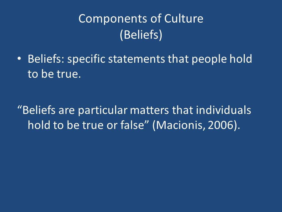 Components of Culture (Beliefs)