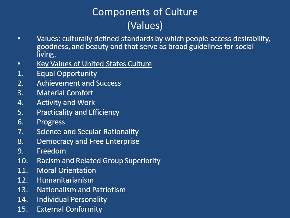 Components of Culture (Values)