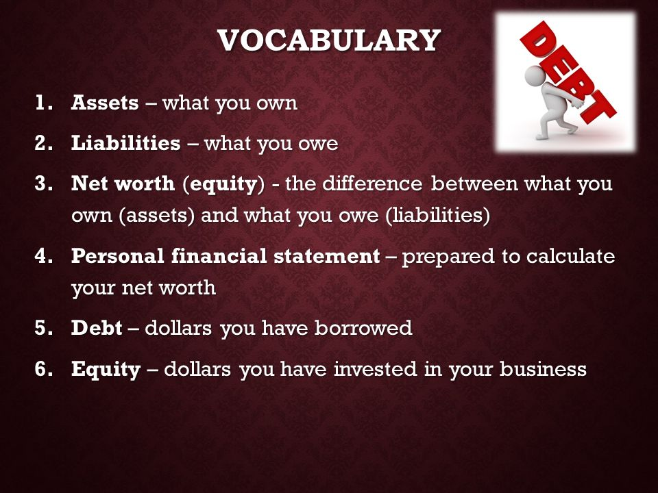 Vocabulary Assets – what you own Liabilities – what you owe