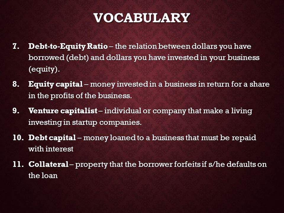 VOCABULARY Debt-to-Equity Ratio – the relation between dollars you have borrowed (debt) and dollars you have invested in your business (equity).