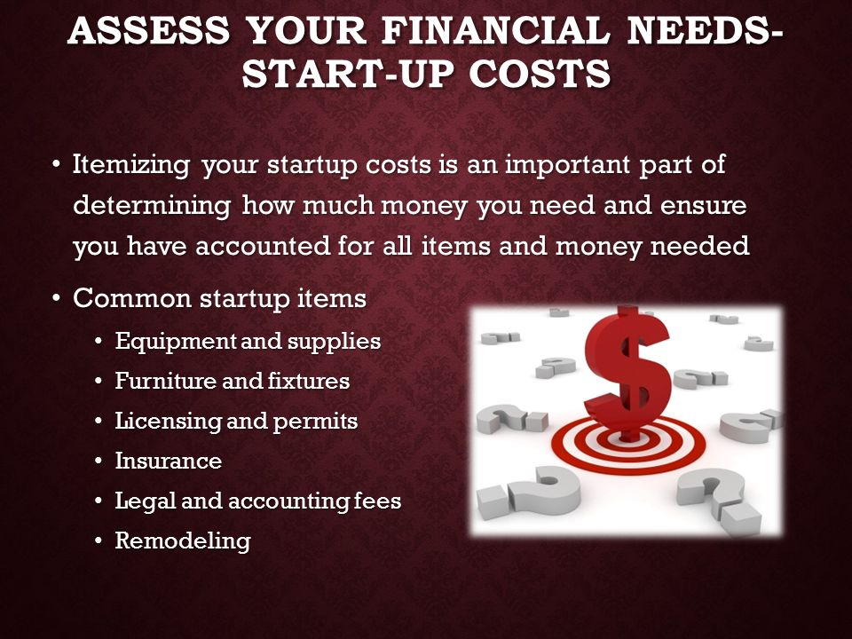 Assess Your Financial Needs- Start-up costs