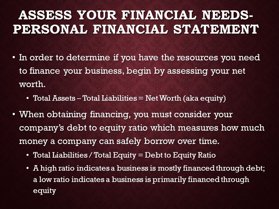 Assess Your Financial Needs- Personal financial Statement