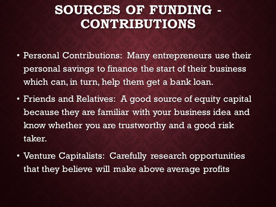 Sources of Funding - Contributions