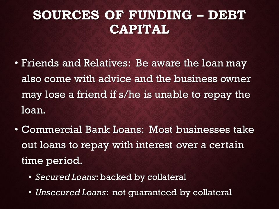 Sources of Funding – Debt capital