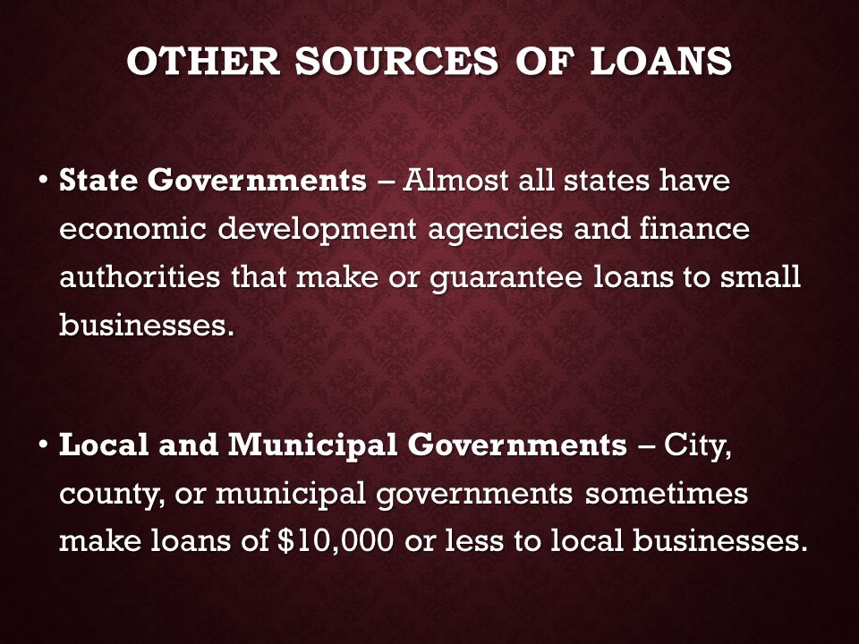 Other sources of loans