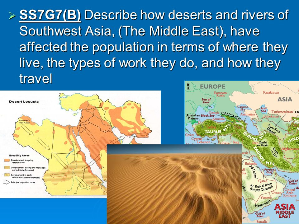 SS7G7(B) Describe how deserts and rivers of Southwest Asia, (The Middle East), have affected the population in terms of where they live, the types of work they do, and how they travel