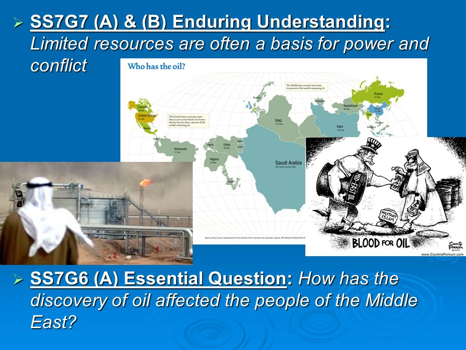 SS7G7 (A) & (B) Enduring Understanding: Limited resources are often a basis for power and conflict