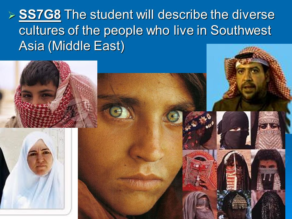 SS7G8 The student will describe the diverse cultures of the people who live in Southwest Asia (Middle East)