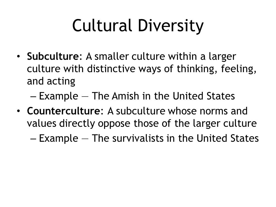 Cultural Diversity Subculture: A smaller culture within a larger culture with distinctive ways of thinking, feeling, and acting.