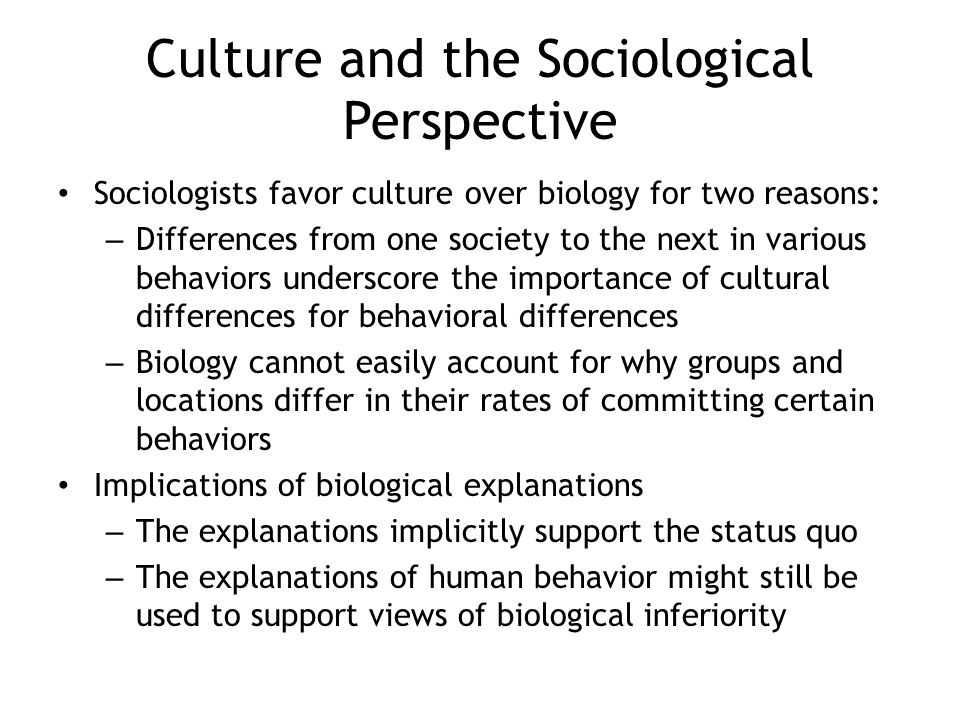 Culture and the Sociological Perspective
