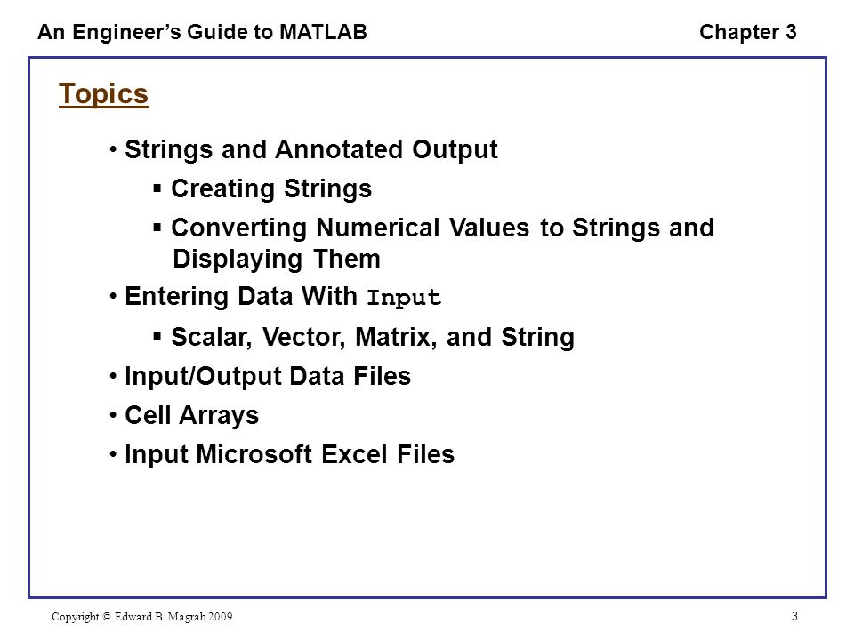 AN ENGINEER'S GUIDE TO MATLAB