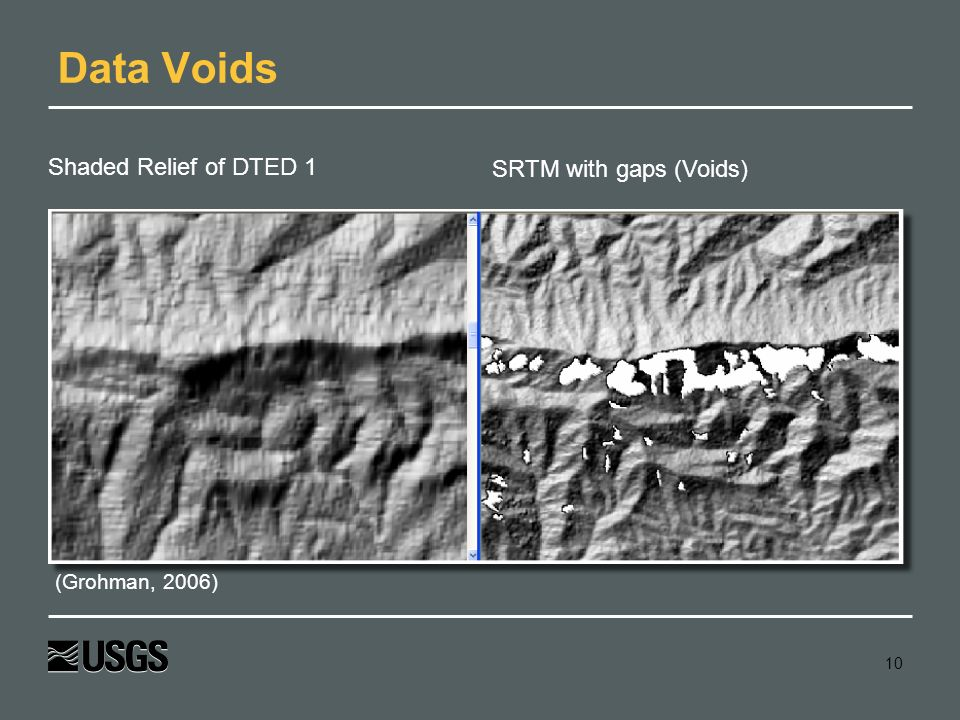 Data Voids Shaded Relief of DTED 1 SRTM with gaps (Voids)