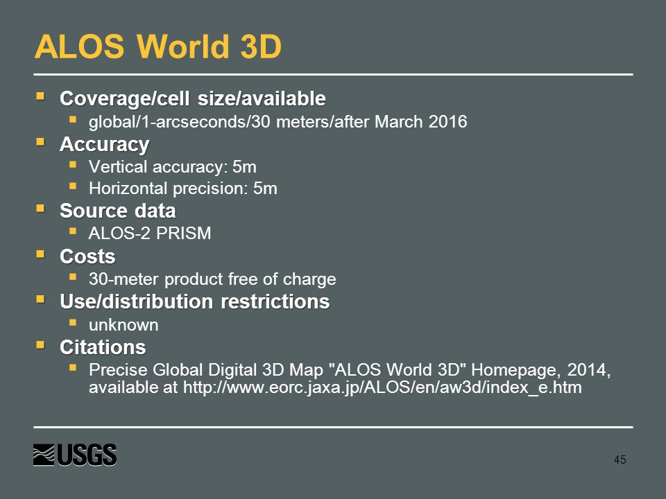 ALOS World 3D Coverage/cell size/available Accuracy Source data Costs