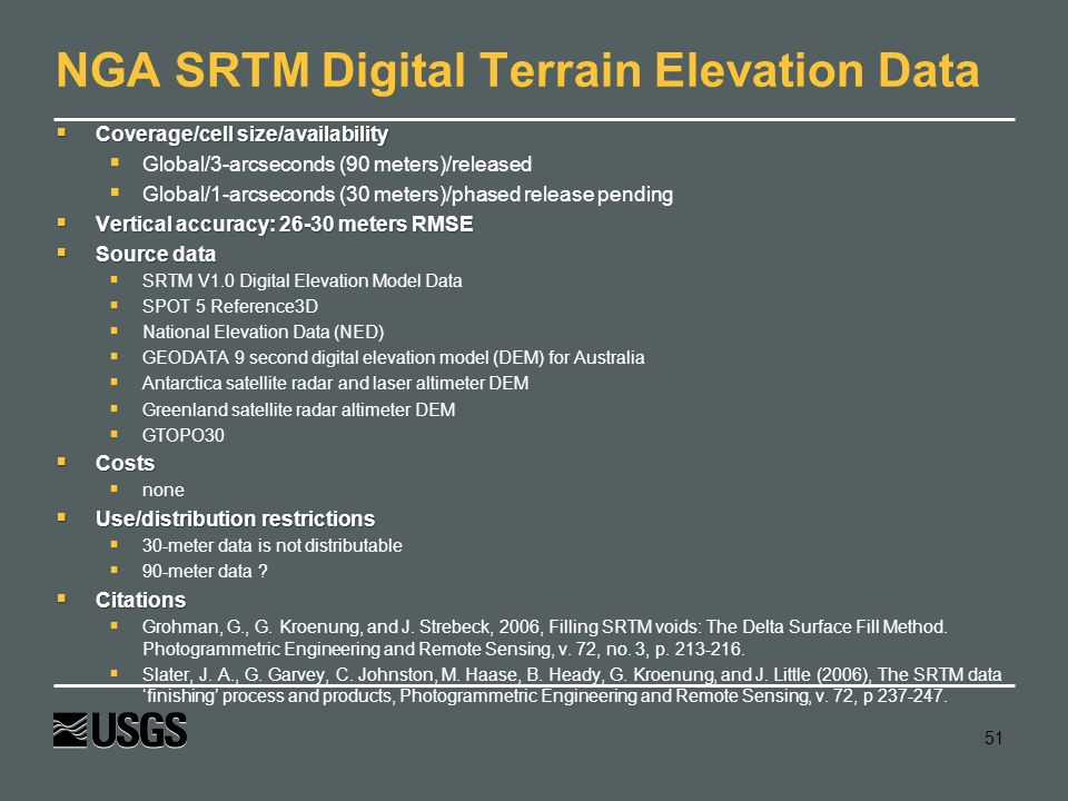 NGA SRTM Digital Terrain Elevation Data