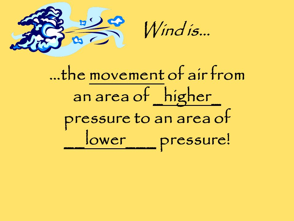 Wind is… …the movement of air from an area of _higher_ pressure to an area of __lower___ pressure!