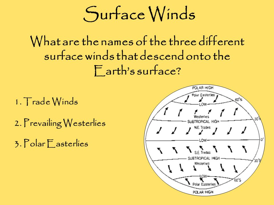 Surface Winds What are the names of the three different surface winds that descend onto the Earth's surface