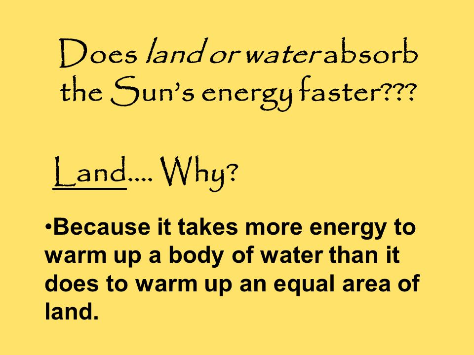Does land or water absorb the Sun's energy faster